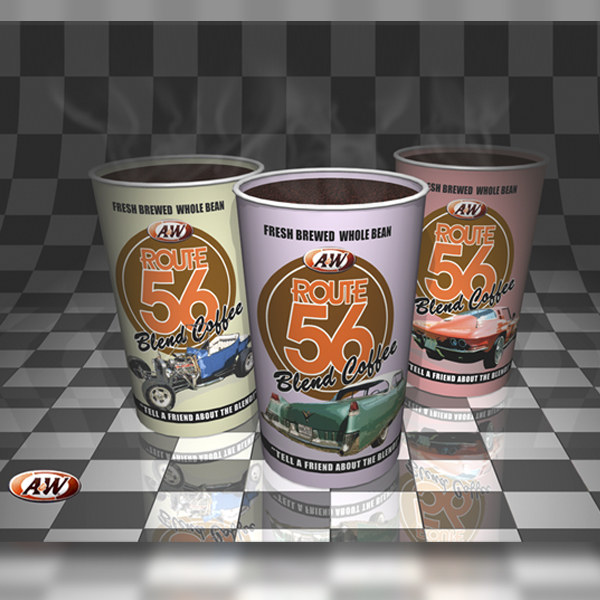 Package design: A&W route 56 cups